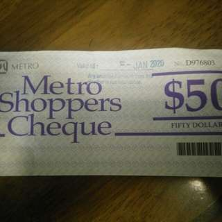 Metro shopper cheque