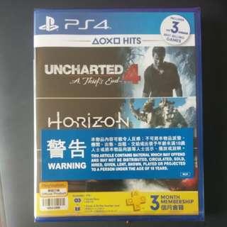 正版 Ps4 Game 3合1 Horizon, Uncharted 4, God Of War,3個月psn