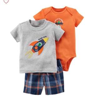 *24M* Brand New Carter's 3 Piece Bodysuit and Shorts Set For Baby Boy