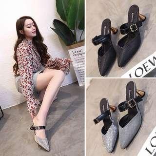 鞋子女2018新款女鞋春季夏時尚外穿拖鞋尖頭韓版百搭粗跟高跟鞋女