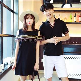S-3XL Couple Wear Tee & Off Shoulder Dress