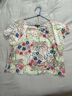 Cropped Flowy floral topshop