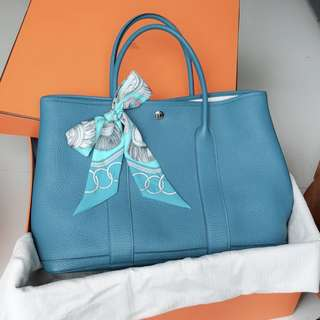 Hermes Garden Party 36 Cobalt Negonda Leather