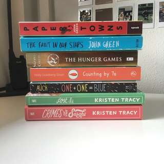 assortment of young adult books