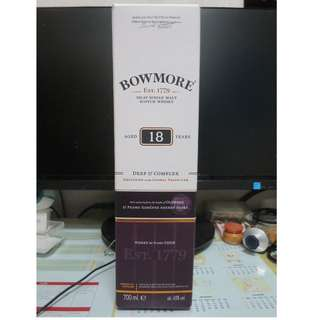 蘇格蘭波摩18年單一純麥威士忌750ml · Bowmore 18 Years Old Single Malt Scotch Whisky