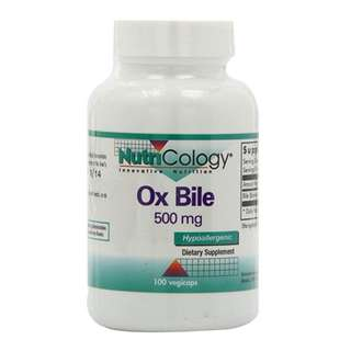 Nutricology Ox Bile Salt 500mg, 100 Vegetarian Capsules - Good for Keto Diet