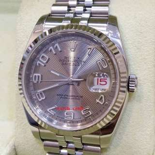 "Used Unpolish Mint Condition Rolex 116234 Silver Concentric Dial Arabic Numerals Auto 18K/SS 36mm ""M-Series"" (With Box + Card)"