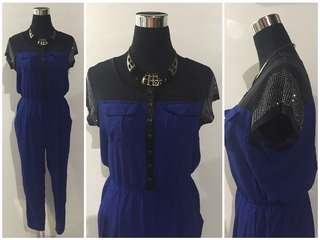 Royal Blue Jumpsuit with mesh details <M)