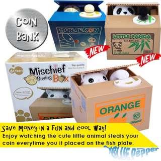 Mischief Saving Box / Stealing Animal Coin Bank (piggy bank) 🐱💰🐖