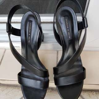 Brand New Authentic Charles & Keith high heels black shoes w/ box