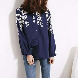Loose fitting Women's stand collar embroidered flowers loose long-sleeved cotton linen lining
