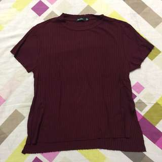 Bershka Maroon Ribbed top with side slit