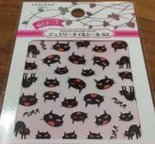 Black Devil Cat Nail Sticker