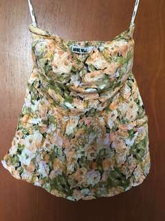 Floral Strapless Top Size M