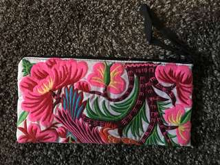 Embroidered fabric Clutch