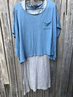 2 pieces Short poncho blue top+ gray cotton dress