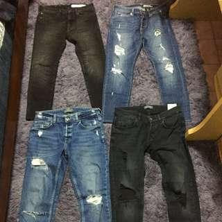 Zara H&M 大刷破牛仔褲(每件都1000)全都9成新以上