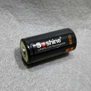 SOSHINE  RCR123 3.0V RECHARGEABLE  BATTERY