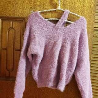 單肩造型桃粉色毛海軟綿綿上衣