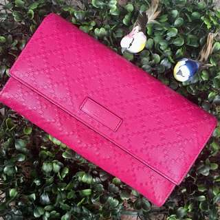 Gucci Diamante Hot Pink Leather Flap Wallet