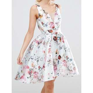 Chi Chi London Plunged Neck Open Back High Low Floral Jacquard Skater Dress