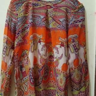 Baju thailand motif gajah bahan sifon