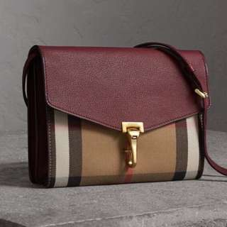 Burberry Small Leather and House Check Crossbody Bag 斜咩袋