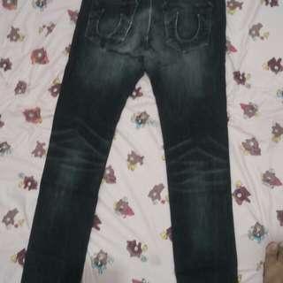 True Religion Black Washed Black Jeans