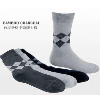 (Gioya)5021竹炭菱格男性休閒襪/ 紳士襪/除臭襪/ 上班族襪