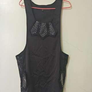 黑色緞面背心式洋裝