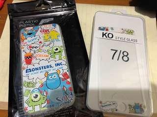 (現貨)怪獸大學電話殼 加保護貼 iphone case  1set