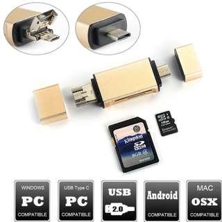Type-c 讀卡器多功能 鋁合金讀卡器 - 手機OTG - 智能三合一 S1409