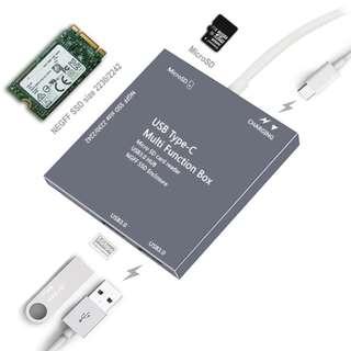 Type-c SSD 移動硬盤盒 - Support : USB3.0 Hub讀卡器 PD充電 多功能 ngff固態硬盤 - S1411