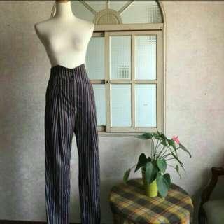 Robyn設計師 高腰馬甲式英倫風條紋顯瘦彈性長褲