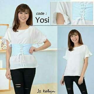 yk yosi blouse 68.000 Bahan twiscone fit to L kombinasi katun salur