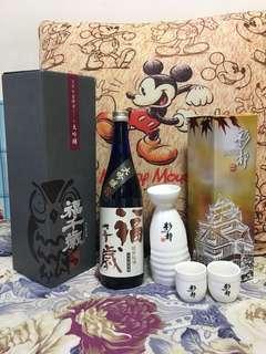 精美青酒Sake套裝(福千歲 櫻花天然吟香酵母大吟釀 720ml 連精美酒瓶酒杯)