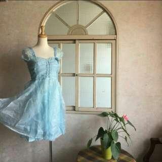 🚚 IROO名品 水藍色公主袖水鑽氣質晚禮服紗裙