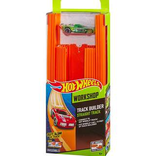Hot Wheels Track Builder Straight Track with Car, 15 Feet