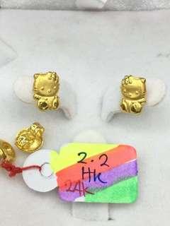 24K/999 Gold Hello Kitty Stud Earrings