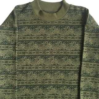 🚚 顛復古⚡️復古文青綠海浪變形蟲古著針織毛衣❤️男女皆可