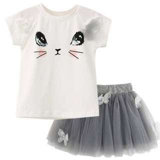 Girl Princess Fashion Cute Cat T-shirt + Butterfly Veil Tutu Skirt