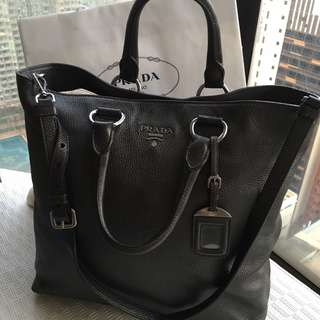Prada  leather tote bag with optional shoulder strap  ##Made in Italy