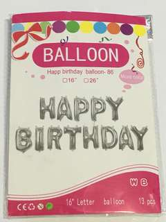 16 inch, Balloon Set-Happy Birthday (Silver Colour)