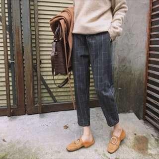 格子褲 寬鬆顯瘦