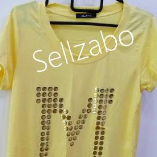Free Size Yellow Long Top Short Sleeves Shirt Ladies Girls Women Female Lady