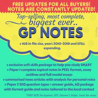 Updated MARCH/2018 latest 👍🏻HIGHEST + FEEDBACK! Highly raved original GP notes! :) self-made, original general paper resource package