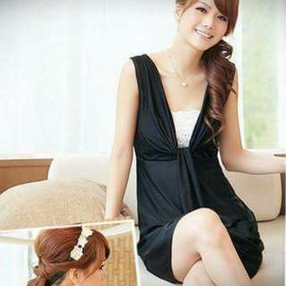 Korean Elegant Black Dress