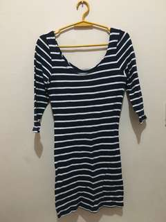 blue stripe fitted cocktail dress