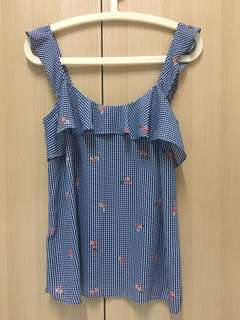 Blue Checkered Flowery Spag Top
