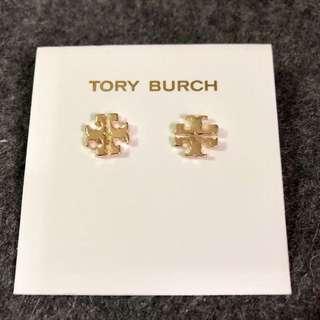 Tory Burch Logo Stud Earrings Gold 金色經典Logo 耳環